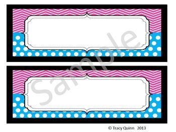 Chevron & Dots Nameplates/Tags--Pink & Blue (blank)