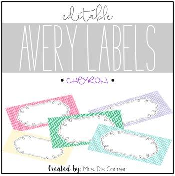 Chevron Editable Classroom Labels 2x4 { Avery Label 8163 }