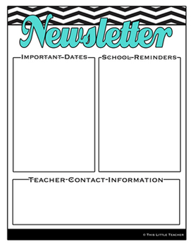Chevron Editable School Newsletter Templates - Elementary
