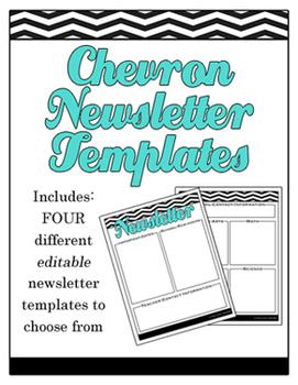 Chevron Editable School Newsletter Templates - Elementary