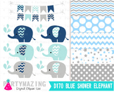 Chevron Elephant Clip Art , Baby Shower Navy Blue and Gray  D170