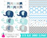 Chevron Elephant Clip Art , Baby Shower Navy Blue and Gray  D170