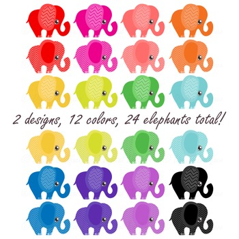 Chevron Elephant Clipart / Colorful Elephant Clip Art