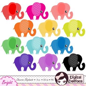 Chevron Elephant Clipart / Colorful Elephant Clip Art