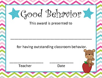 Chevron End of the Year Classroom Awards