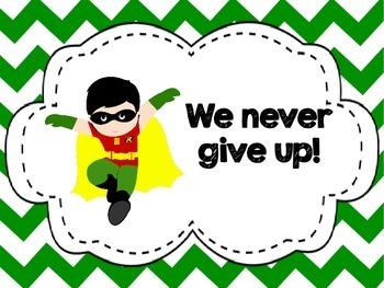 Chevron English and Spanish Classroom Rules -Superhero Theme