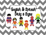 Chevron English and Spanish Daily 5 Signs Superhero Theme
