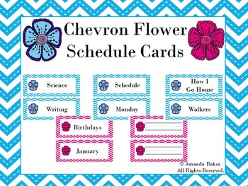 Chevron Flower Schedule Cards Pink and Blue