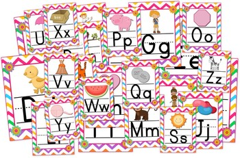 Chevron Flower Themed Alphabet Posters Signs