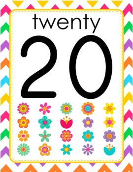 Chevron Flower Themed Numbers Posters Signs 0 to 20