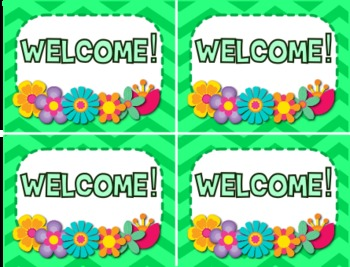 Chevron Flower Themed Postcards Students Notes