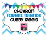 Chevron Forest Friends Cubby Labels