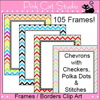 Chevron Borders and Frames Clip Art Value Pack