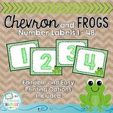 Chevron Frog Number Labels: Editable, Classroom Decor, Organizational Tool