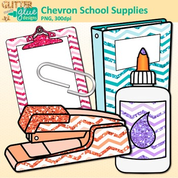 Back to School Supplies Clip Art {Chevron Notebook, Marker, Pencil, Backpack}