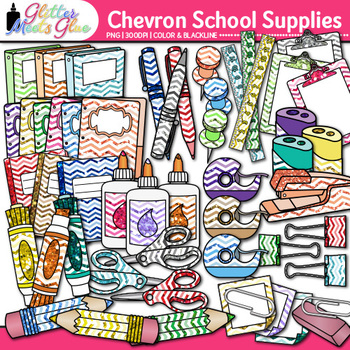 Back to School Supplies Clip Art | Chevron Notebook, Marker, Pencil, Backpack