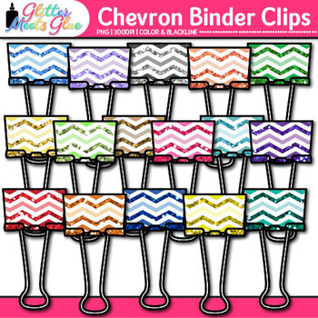 Chevron Binder Clips Clip Art {Back to School Supplies for Worksheets}