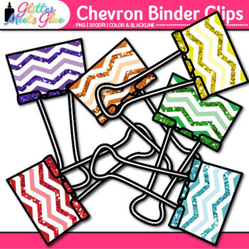 Chevron Binder Clips Clip Art | Back to School Supplies for Worksheets