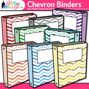 Chevron Binder Clip Art {Back to School Supplies for Worksheets & Resources}