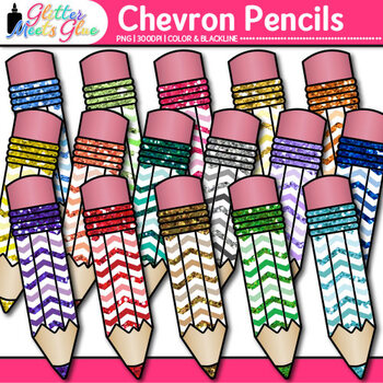 Chevron Pencil Clip Art {Back to School Supplies for Worksheets & Resources}
