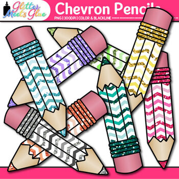 Chevron Pencil Clip Art | Back to School Supplies for Worksheets & Resources