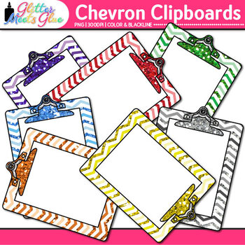 Chevron Clipboard Clip Art | Back to School Supplies for Worksheets & Resources