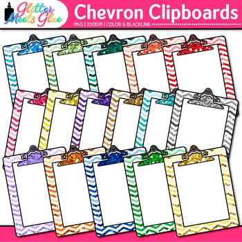 Chevron Clipboard Clip Art {Back to School Supplies for Wo
