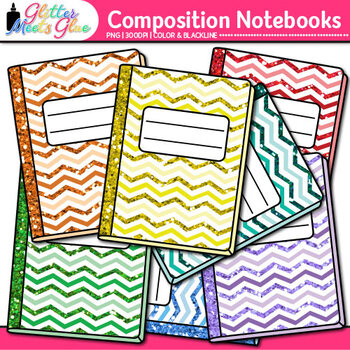 Chevron Composition Notebook Clip Art {Back to School Supplies for Worksheets}