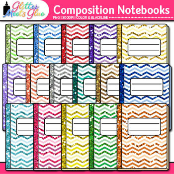 Chevron Composition Notebook Clip Art | Back to School Supplies for Worksheets