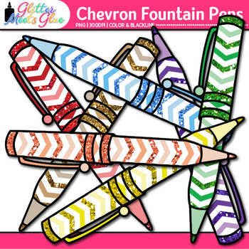 Chevron Fountain Pen Clip Art {Back to School Supplies for Worksheets}
