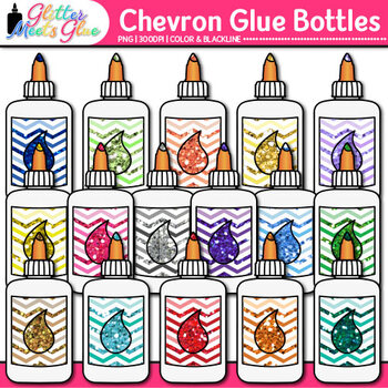 Chevron Glue Bottle Clip Art {Back to School Supplies for Worksheets, Resources}