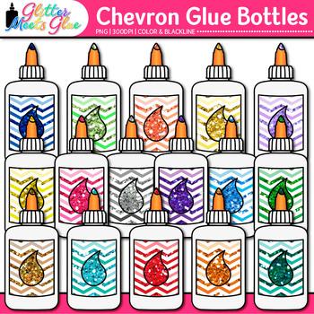 Chevron Glue Bottle Clip Art | School Clipart for Teachers
