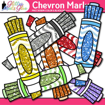 Chevron Markers Clip Art {Back to School Supplies for Worksheets & Resources}