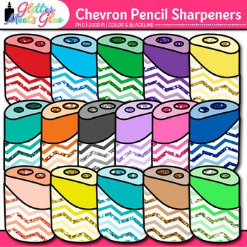 Chevron Pencil Sharpener Clip Art {Back to School Supplies for Worksheets}
