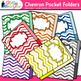 Chevron Pocket Folders Clip Art {Back to School Supplies for Worksheets}