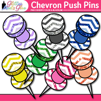 Chevron Push Pins Clip Art {Back to School Supplies for Worksheets & Resources}