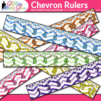 Chevron Ruler Clip Art | Back to School Supplies for Worksheets & Resources
