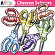 Chevron Scissor Clip Art | Rainbow Glitter Back to School Supplies for Labels
