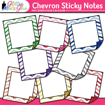 Chevron Sticky Notes Clip Art {Back to School Supplies for Worksheets}