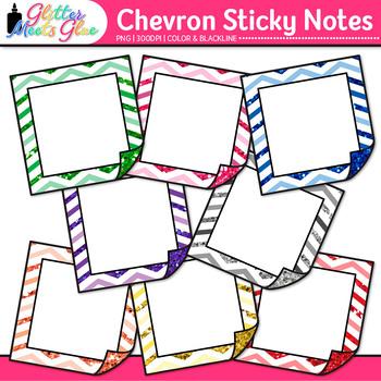Chevron Sticky Notes Clip Art | School Clipart for Teachers