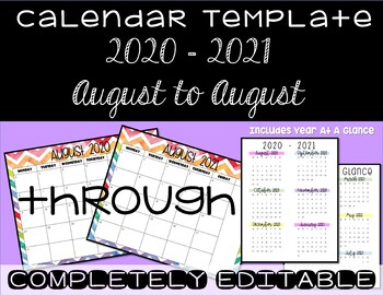 Rainbow Chevron Calendar Template 2017 - 2018 - Back to School Essential