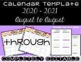 Rainbow Chevron Calendar Template 2018 - 2019 - Back to School Essential