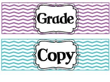 Chevron Grade, Copy, and File Labels!
