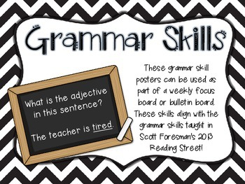 Chevron Grammar Skill Posters