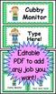 Chevron (Green) Classroom Jobs Cards (EDITABLE)