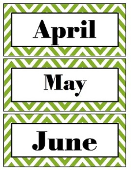 Chevron Green Month & Number Cards