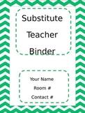 Chevron Green Substitute Teacher Binder