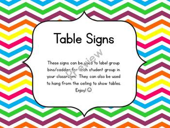 Chevron Group Table Signs