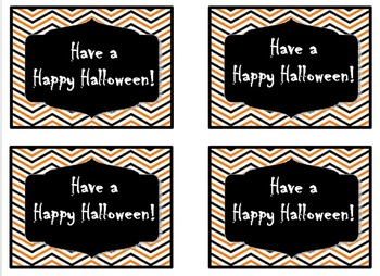 Chevron Halloween Treat Tags