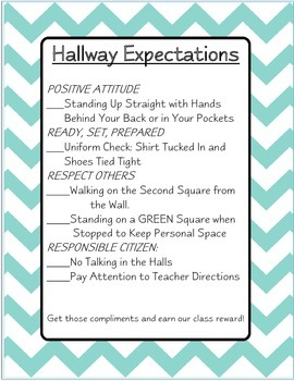 Chevron Hallway Expectations Sign